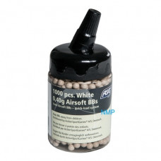 ASG 6mm Nylon BB Pellets, Airsoft BB, 0.40g, 1000 pcs in bottle white