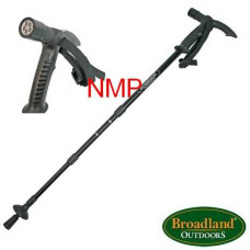 Black Aluminium 3 Section adjustable telescopic walking stick, pole with Compass, anti-shock mechanism and LED Light