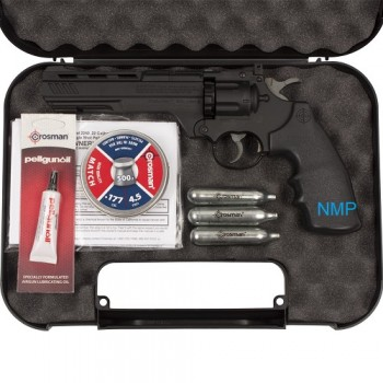 CROSMAN Vigilante, 12g co2 air pistol revolver, 6 inch barrel, fires .177 calibre pellets, .177 steel BB 10 shot pellet, 6 shot BB Starter Kit