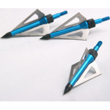 92 Grain 3 blades Aftershock Crossbow, Archers hunting arrow broadheads Blue, Silver Pack of 3