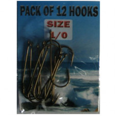 Eyed SEA Fishing Hooks Size 1-0 pack of 12