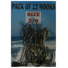 Eyed SEA Fishing Hooks Size 2-0 pack of 12