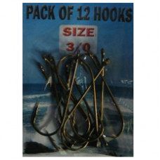 Eyed SEA Fishing Hooks Size 3-0 pack of 12