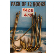Eyed SEA Fishing Hooks Size 4-0 pack of 12