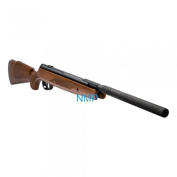 Webley VMX Spring Powered Air Rifle, Classic Wood Ambidextrous Stock 11.5 ft/lbs .22 Calibre With Quantum© Oversleeved Silencer